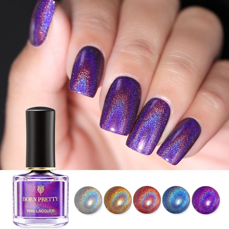 BORN PRETTY 45 Colors  Laser Nail Polish 6ml Silver Holo Shining Glitter Nail Art  Nail Polish