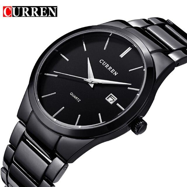 2017 de cuarzo reloj de los hombres de curren marca relojes de pulsera militar de los hombres de acero lleno famoso negocio hombres reloj impermeable relogio masculino