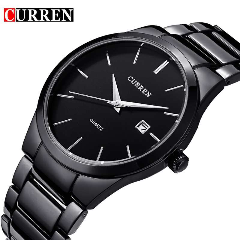 CURREN Quartz Watch Men Brand Military Wrist Watches MEN Full Steel Famous Business Men Watch Clock Waterproof Relogio Masculino natate men new business clock fashion men watch full gold stainless steel quartz wrist watch chenxi waterproof watch 0140