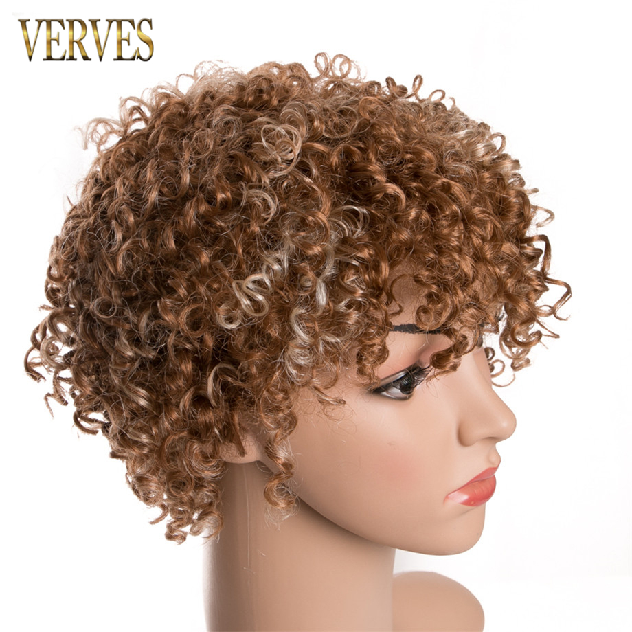 VERVES Curly WIG 6 inch Kinky Curly Afro Wigs for Women High Temperature Fiber mix color short hair free shipping