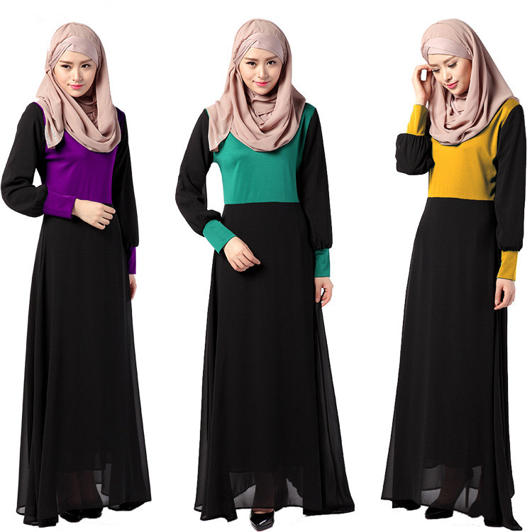 Muslim Women Traditional Costumes Long Sleeves Dresses 3 Colors font b Islamic b font Adult Ethnic