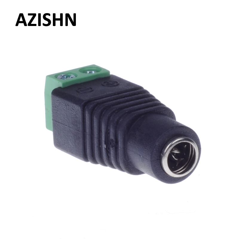 AZISHN Female DC Connector 5.5/2.1mm CCTV UTP DC Power Plug Adapter Cable DC/AC 2/Camera Video Balun 100 pcs cctv video balun 5 5x2 1mm dc power plug terminals connector detachable