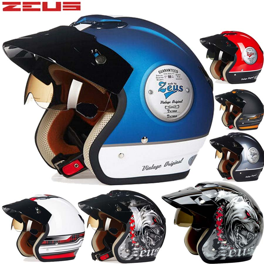 2016 New Genuine Taiwan ZEUS ABS half face motorcycle helmet male female models vintage motorbike electric bicycle helmets 381c 2017 new ece certification ls2 motocross motorcycle helmet ff352 full face motorbike helmets made of abs and pc silver decadent