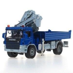 Image 2 - KDW alliage moulé sous pression grue camion modèle 1:50 télescopique grue vidage Support jambe grue jouet véhicule modèle enfants Collection enfants voiture