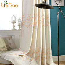 Plum Flowers Embroidered Linen Curtains In Living Room Pastoral Bedroom Window Curtain 3 Colors Custom Made