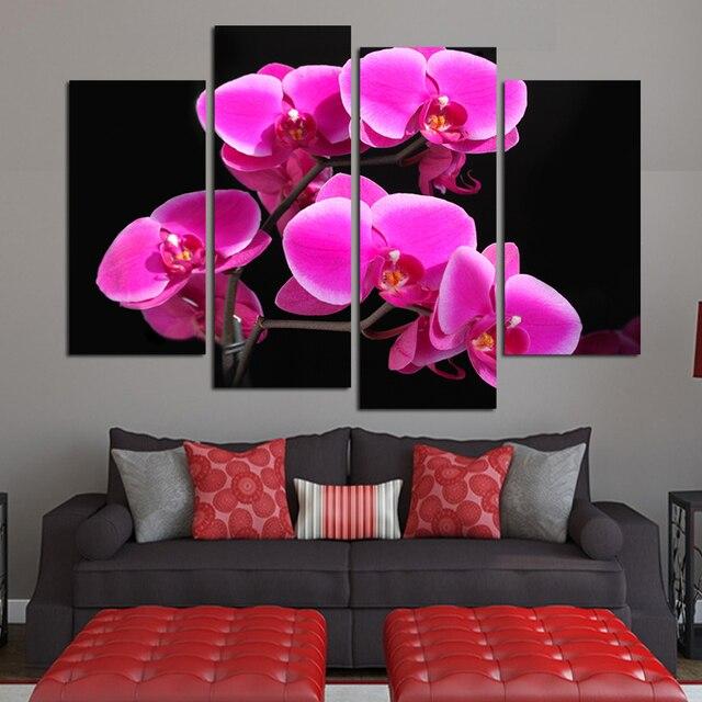 4 Piece Pink petals Flowers Canvas Painting Home Decoration Pictures ...