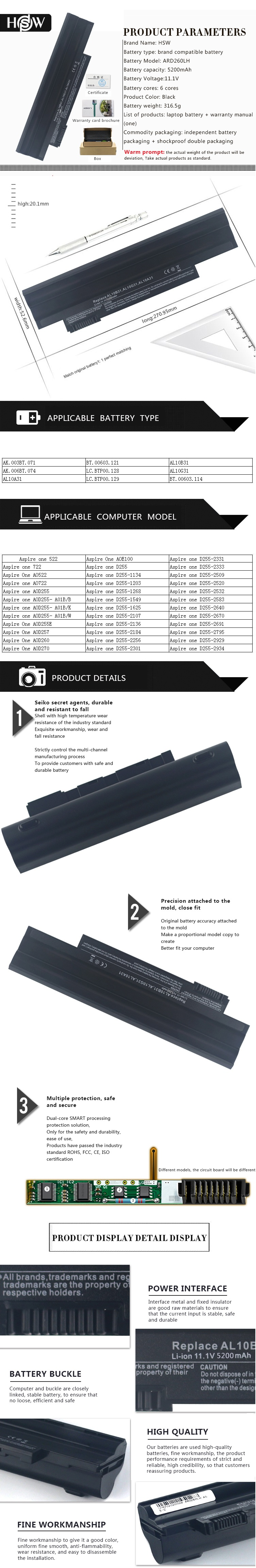 Baterai Acer Aspire One 522 722 D255 D255e D257 Happy D260 D270e100 2 D270 Putih Oem Hsw 6cells New Laptop Battery For