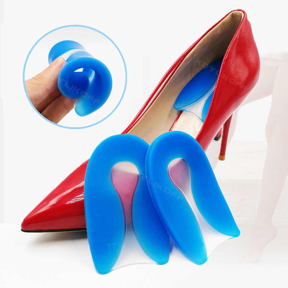 발 통증 100% 실리콘 젤 U 자형 발바닥 근막 염 발 뒤꿈치 보호대 발 뒤꿈치 박차 쿠션 패드 신발 삽입 남성과 여성을위한 깔창
