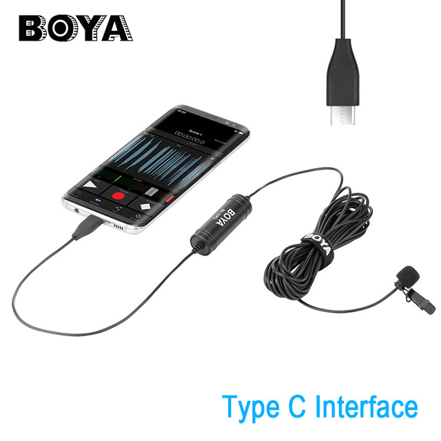 Boya BY-DM2 Lavalier Condenser Microphone Type-C Port Interview Vlogging Mic for Samsung S8 Xiaomi Mi 8 Android Smartphones boya by dm1 by dm2 digital lavalier lapel microphone clip on video recording mic with lighting port type c for iphone x 8 7
