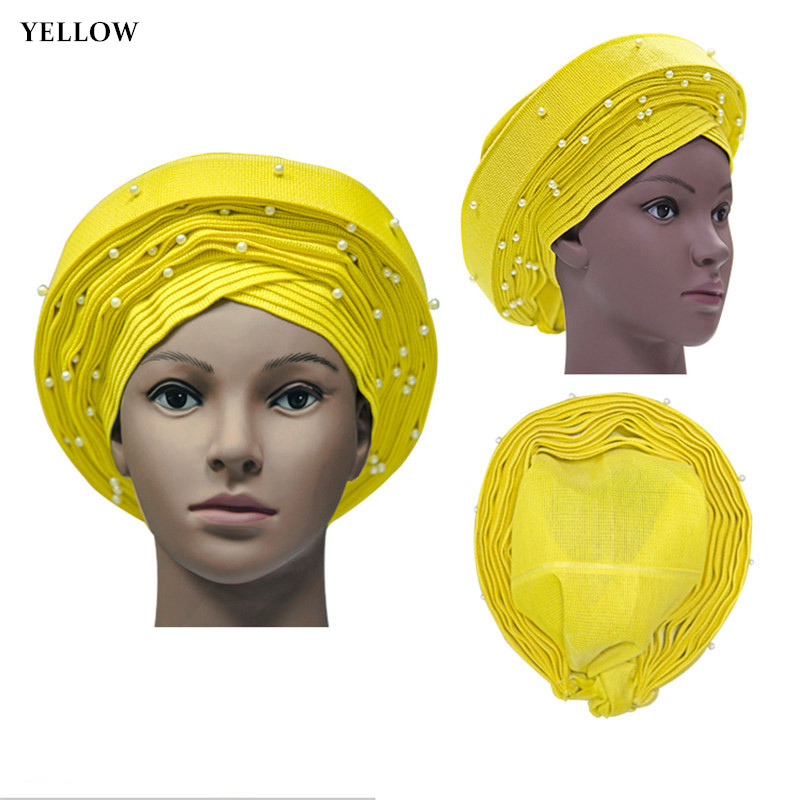 Auto gele nigerian headtie African aso oke headtie with beads 1pc/set Used for party Free shipping YELLOW AS-1426Auto gele nigerian headtie African aso oke headtie with beads 1pc/set Used for party Free shipping YELLOW AS-1426