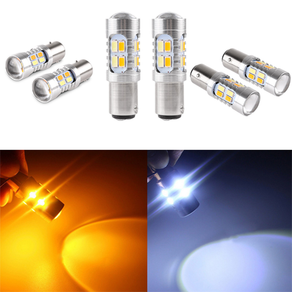 2x высокое Мощность 5730 чип 3157 Dual Цвет горки SMD LED Универсальный 6000 К светодиодные лампы для авто лампочки светодиодные огни автомобиля LED 12 В