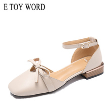 E TOY WORD Spring bow pointed single shoes female 2019 new Sandals women summer shallow mouth flat bottom womens low heel shoes