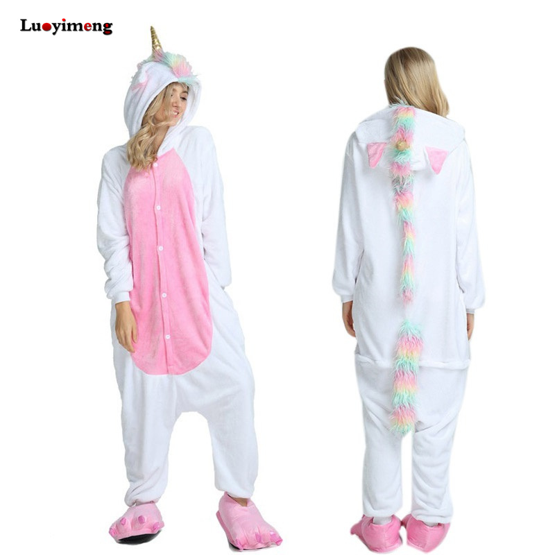 Animal Kigurumi Unicorn Pajamas Set Winter Warm Pyjamas Women Adult Unisex Stitch Panda Pijimas Hooded Women Sleepwear Nightwear
