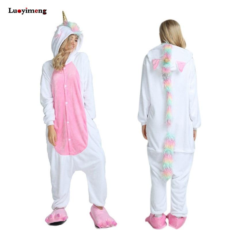 Animal Kigurumi Unicorn   Pajamas     Set   Winter Warm Pyjamas Women Adult Unisex Stitch Panda Pijimas Hooded Women Sleepwear Nightwear
