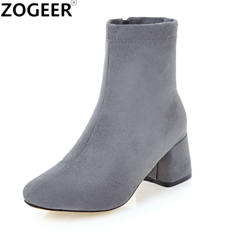 Plus size 46 Winter Autumn Women Boots European Pointed Toe Square Heels Ankle Boots Fashion Motorcycle Boots Shoes Woman