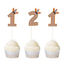 12pcs Indian Chief Number 1 2 Cupake Topper 1st 2nd Birthday Party Cake Decor Bohemian Wild One  Supplies Free Shipping