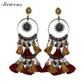 Miwens 2016 New Statement Earrings For Women Boho Ethnic Rope Tassel Charm Vintage Maxi Rhinestone Stud Earring 7000