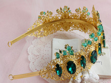 2016 Royal Regal Chic 18k Gold Plated Metal Emerald Green Rhinestone Baroque Byzantine Tiaras And Crowns Wedding Party Headdress