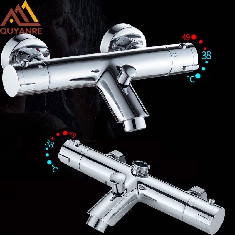 Quyanre Thermostatic Shower Faucets Set Bathroom Thermostatic Mixer Tap Hot And Cold Bathroom Mixer Mixing Valve