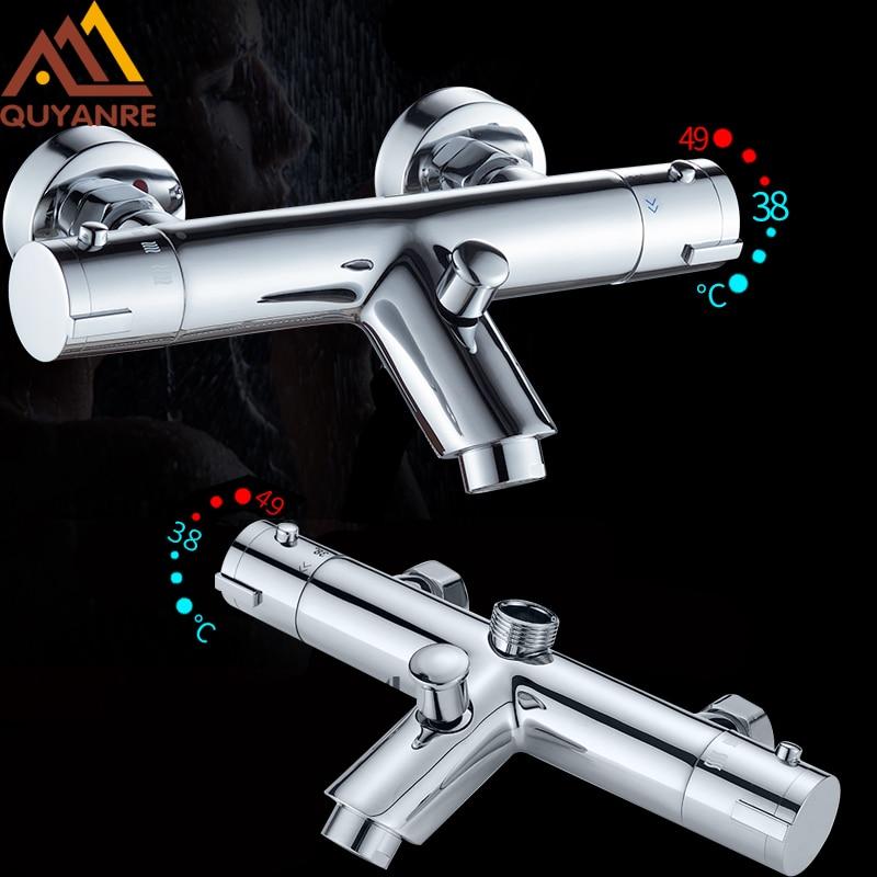Quyanre Thermostatic Shower Faucets Set Bathroom Thermostatic Mixer Tap Hot And Cold Bathroom Mixer Mixing Valve Bathtub Faucet everso bathroom shower faucet thermostatic faucet dual handles thermostatic mixer valve bathtub faucets
