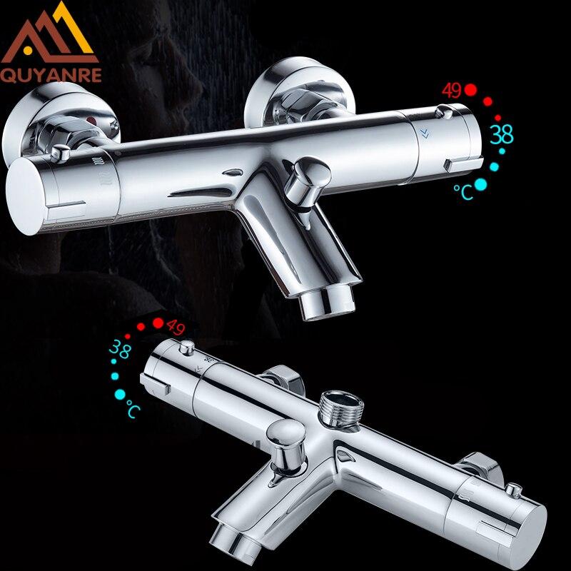 Quyanre prysznic termostatyczny baterie zestaw łazienka mieszacz termostatyczny kran ciepłej i zimnej łazienka mikser zawór mieszający bateria do wanny w Baterie prysznicowe od Majsterkowanie na AliExpress - 11.11_Double 11Singles' Day 1