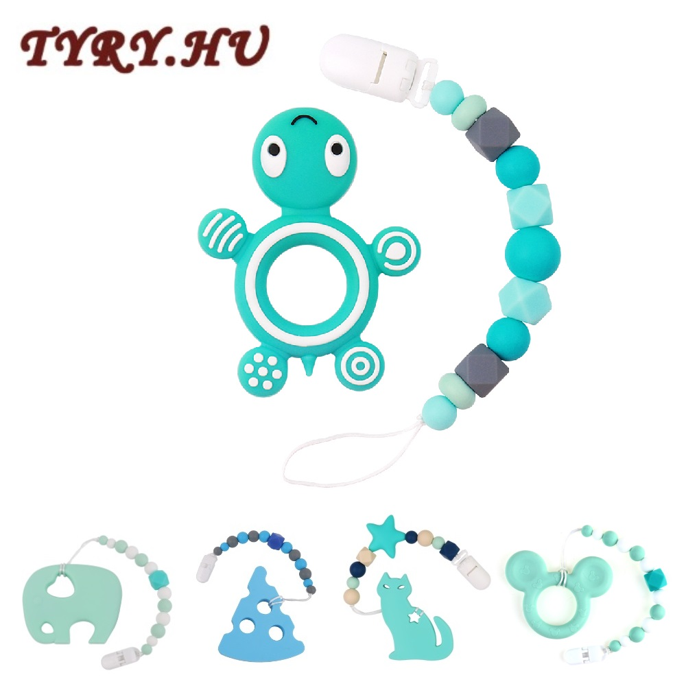 TYRY.HU Silicone Teether Animal Elephant Tortoise Teether Pacifier Chains Baby Teether Silicone Beads Pacifier Clips Necklace