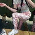 Женская мода Атласная Трек Брюки Классические Две Полосы Манжетой Штаны Спортивные Штаны 6 Цвета