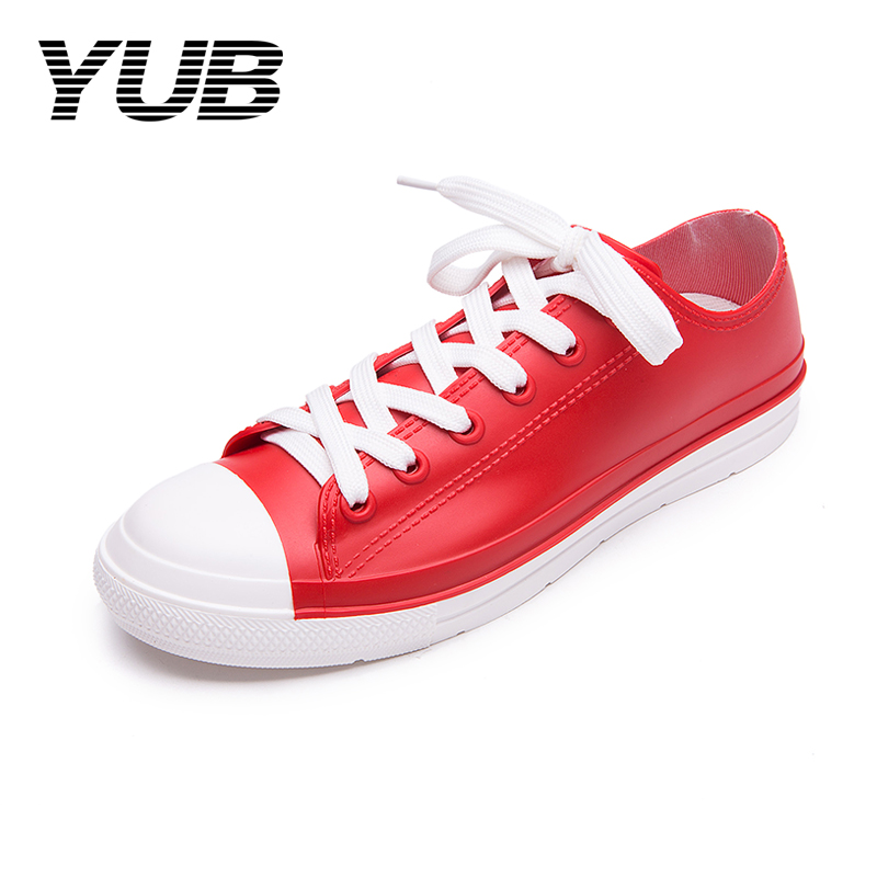 YUB Casual Rain Shoes Women Waterproof Sneakers with Shoelace Tenis Feminino Flat Shoes Size 5-11 45 neon orange 5 16 flat shoelace for all basketball shoes