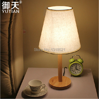 Free Shipping Creative Fashion Design Original Wood Table Lamp With Shade Contemporary White Shade Desk Light