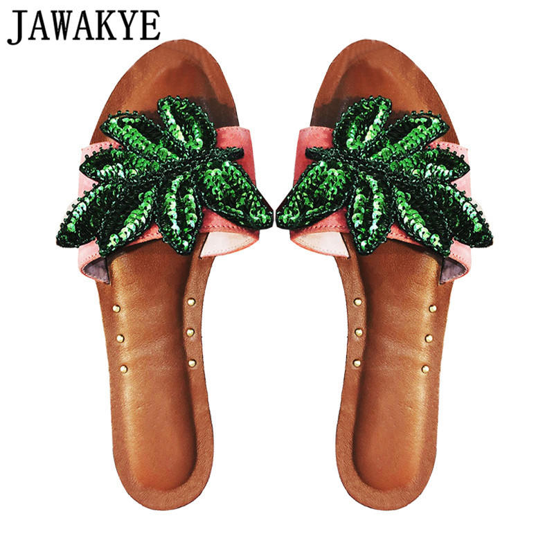 Simple green bling bling leaf Slippers women open toe genuine leather shoes woman rivets decoration flat