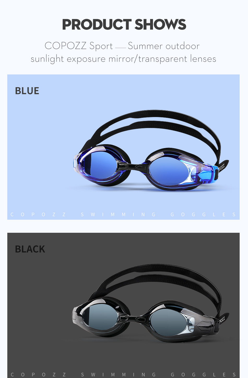 COPOZZ Myopia Pro Diopter Swimming Goggles 0 -1.5 to -8 With Double Anti Fog UV Protection 10