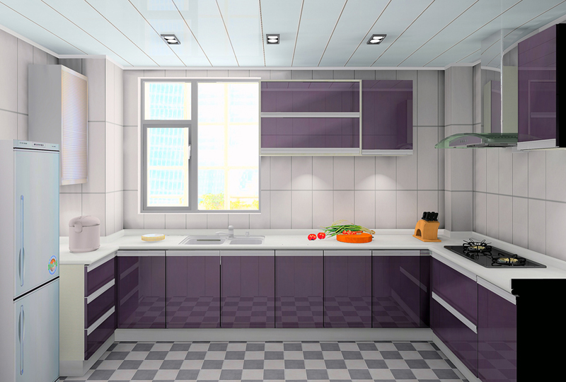 US $2400.0 |High glossy kitchen furnitures purple color-in Kitchen Cabinets  from Home Improvement on AliExpress