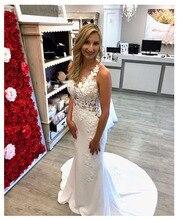 LORIE koronkowa suknia ślubna 3D kwiaty 2019 prosta syrenka plaża suknia dla panny młodej Custom Made Sexy wróżka, białe kości słoniowej suknia ślubna