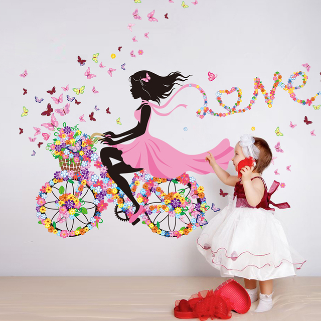 Buy girl wall sticker flower pink bicycle for Girls room wall decor
