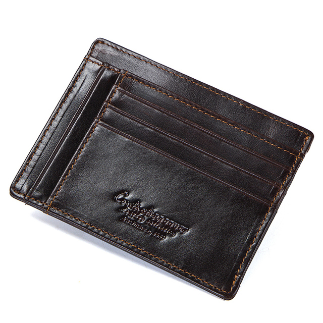 CONTACT'S crazy horse cowhide leather RFID men card wallet mini card holder with coin pocket men's small thin walet slim wallets 2