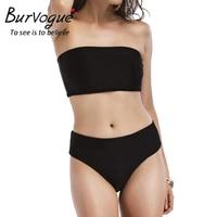 Burvogue High Waist Swimwear Women Solid Summer Monokini Swimwear Two Pieces New Push Up Bathing Suit