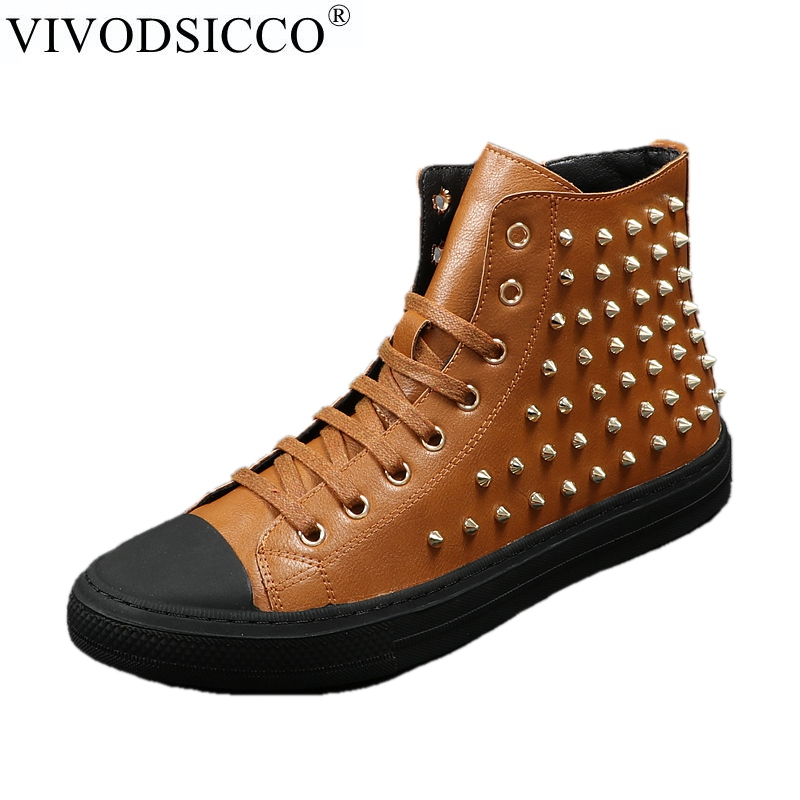 VIVODSICCO New Round Toe Casual Shoes Black Brown Rivets Ankle Boots Men Genuine Leather Punk Martin Boots Male Motorcycle Boots fashion men s shoes yellow black brown europe style genuine leather male martin boots large size 45 casual flats huarche boty