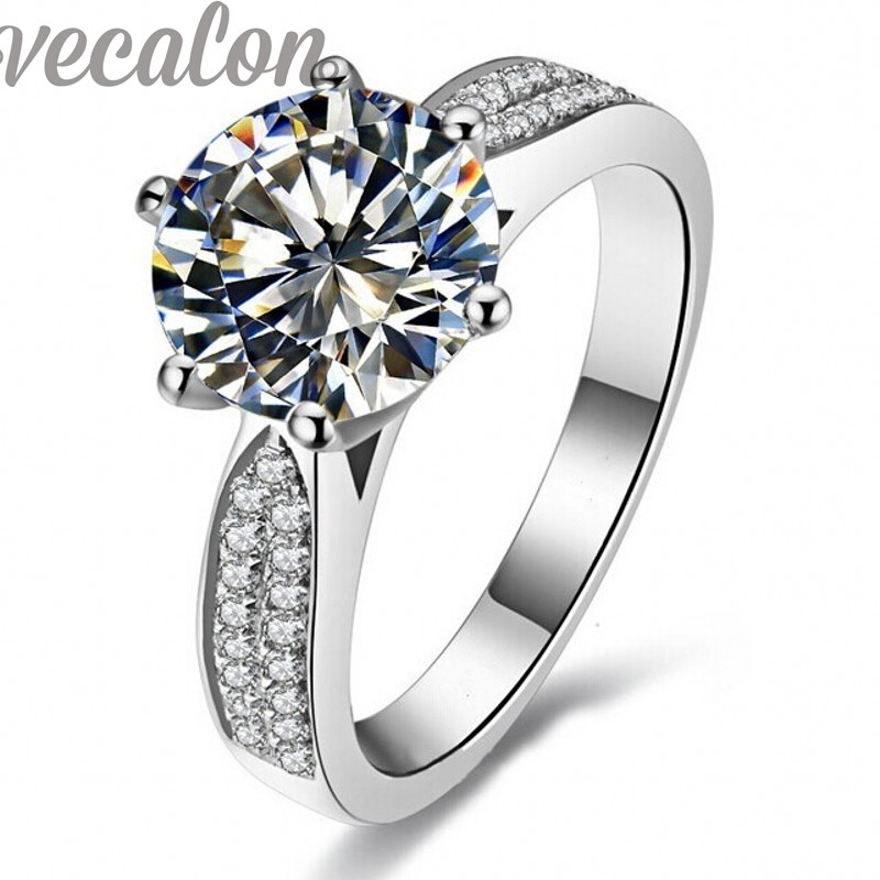 Vecalon Fashion ring Solitaire Round 4ct Cz Diamond ring 14KT White Gold Filled Women Engagement Wedding Band ring Sz 5-11