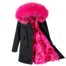2017 new fashion women luxurious Large raccoon fur collar hooded coat warm Fox fur liner parkas long winter jacket top quality