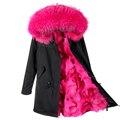 2017 nuevas mujeres de la moda de lujo Gran cuello de piel de mapache con capucha escudo parkas cálido forro de piel de Zorro largo invierno de la chaqueta superior calidad