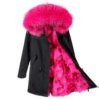 MAO MAOnew Fashion Woman Luxurious Large Raccoon Fur Collar Hooded Coat Warm Fox Fur Liner Parkas