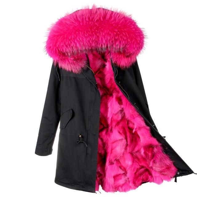 MAOMAOKONG пуховики женские зимние Большой енота меховым воротником с капюшоном пальто теплый Лисий мех лайнер парки длинные зимняя куртка из меха енота Кофточки