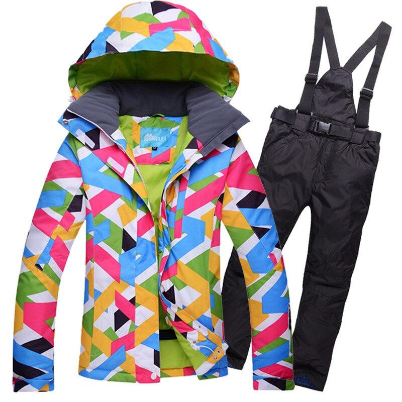 Prix pour Nouveau Style Femmes Ski Veste + Pantalon Super Chaud Coupe-Vent Imperméable À L'eau En Plein Air Sport Ski Snowboard Equitation Camping Ski Costume