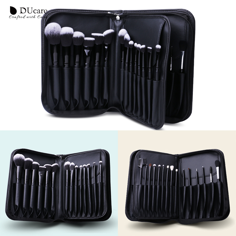 DUcare 27PCS Make up Brushes Foundation Powder Eyeshadow Highlight Contour Eyebrow Brush Natural Hair Makeup Brush set with Case