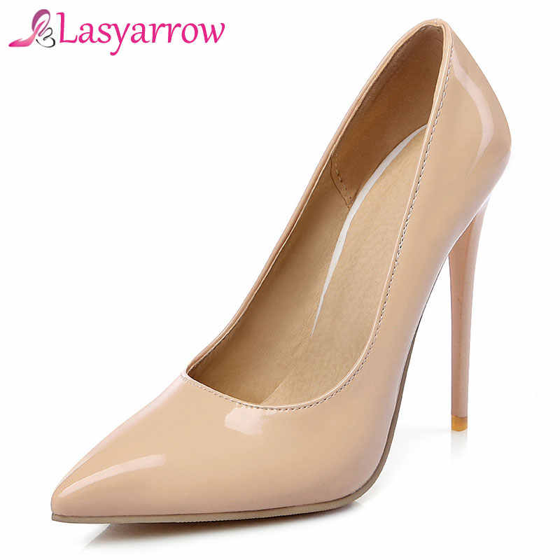 82a6a656cb3 Lasyarrow Shoes Woman High Heels Wedding Shoes Patent Black Red Women Pumps  Pointed Toe Sexy High
