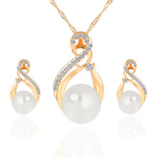 Trendy Imitation Pearls Jewelry Sets For Women Romantic Wedding Gold Silver Color Earrings Necklaces Set Bijoux Wedding Gift a suit of trendy embellished wedding jewelry set for women