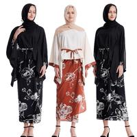 2 Piece Muslim Floral Printed Women Kimono Sets Long Bating Sleeve Tops+Wrap Skirt Set Suit Paryer Cloth Loose Party Kaftan New