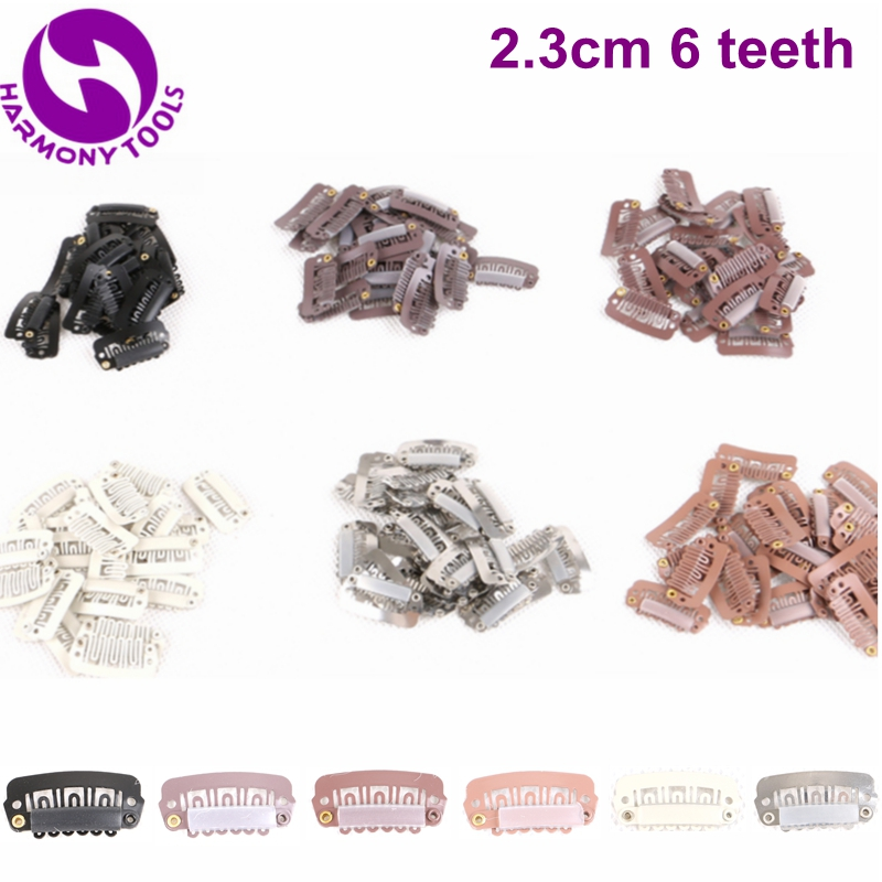HARMONY 1000 Pieces 2.3cm 6 teeth Stainless steel clips for hair extensions- (Black, D Brown, M Brown, L Brown, Blonde, Silver)