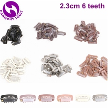 Гармония 1000 шт. 2.3 см 6 Зубы из нержавеющей стали зажимы для волос-(черный, D коричневый, м коричневый, L коричневый, блондинка, серебро)