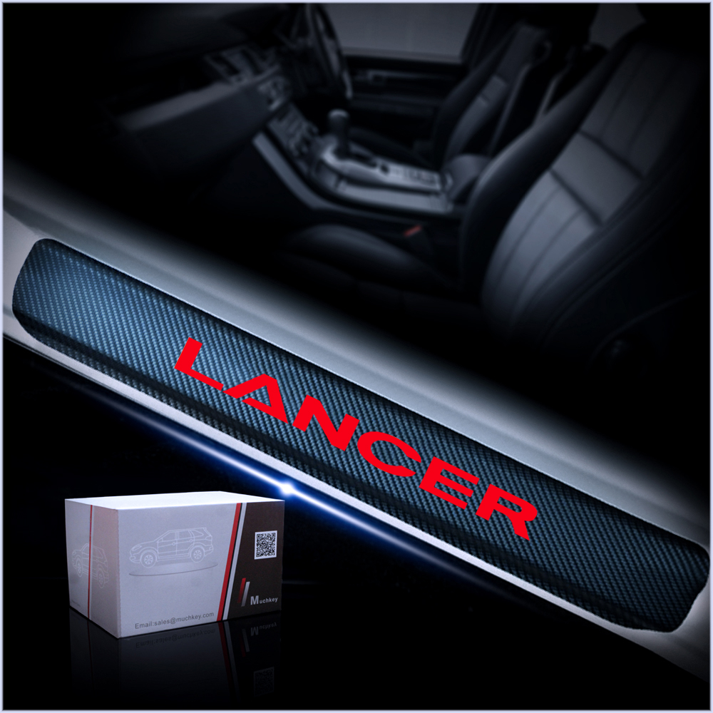Image 2 - Car Door Sill For Mitsubishi LANCER 4D Carbon Fiber Vinyl Sticker Door Sill Protector Scuff Plate Car Sticker Accessories 4Pcs-in Car Stickers from Automobiles & Motorcycles